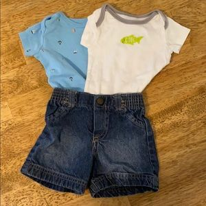 Baby boy onsies and shorts 0-3 months